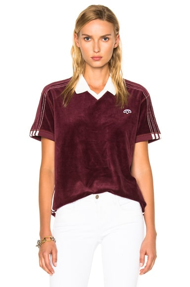 adidas by Alexander Wang Velour Polo in Maroon