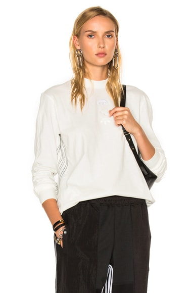 adidas by Alexander Wang Logo Long Sleeve in Core White