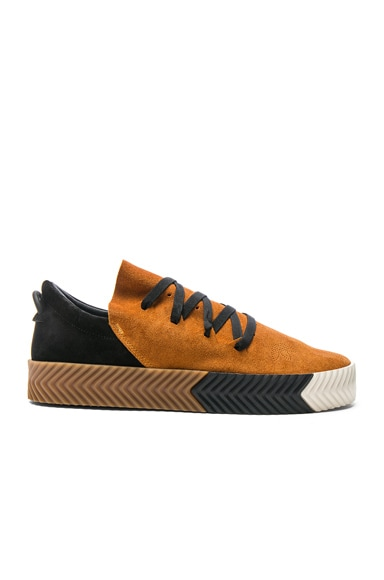 adidas by Alexander Wang Suede Skate Sneakers in Brown, Black & White