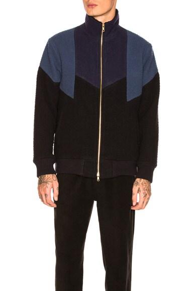 Nubby Wool Panel Track Jacket