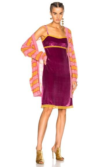 Lace Trim Velvet Slip Dress