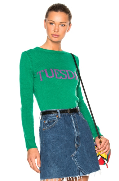 ALBERTA FERRETTI Tuesday Crewneck Sweater in Green & Purple