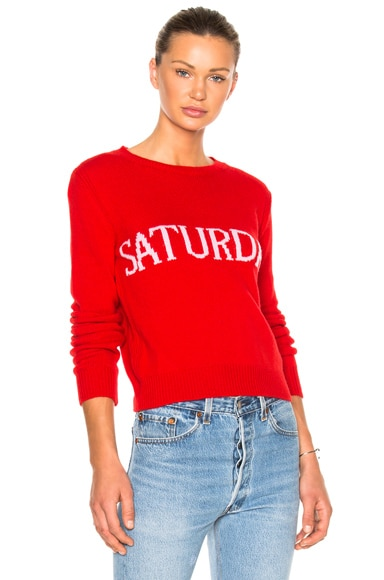 ALBERTA FERRETTI Saturday Crewneck Sweater in Red & Mauve