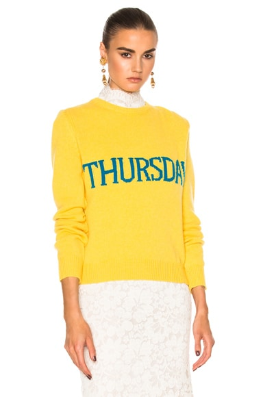 ALBERTA FERRETTI Thursday Crewneck Sweater in Yellow & Teal
