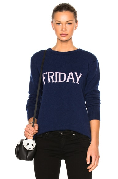 ALBERTA FERRETTI Friday Crewneck Sweater in Dark Blue & Mauve