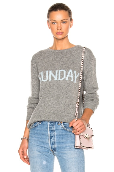 ALBERTA FERRETTI Sunday Crewneck Sweater in Melange Grey & Light Blue