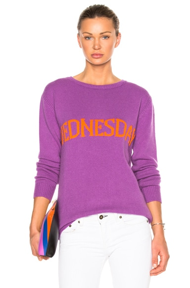 ALBERTA FERRETTI Wednesday Crewneck Sweater in Purple & Orange