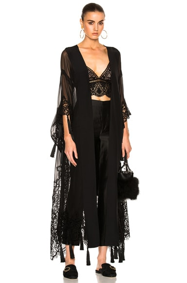 ALBERTA FERRETTI Chiffon Lace Trim Robe in Black