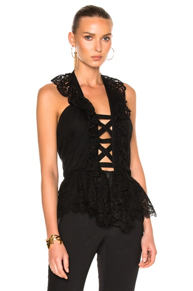 ALBERTA FERRETTI Chiffon Cross Front Top in Black