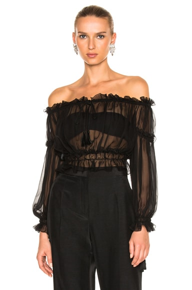 Chiffon Off the Shoulder Peasant Blouse