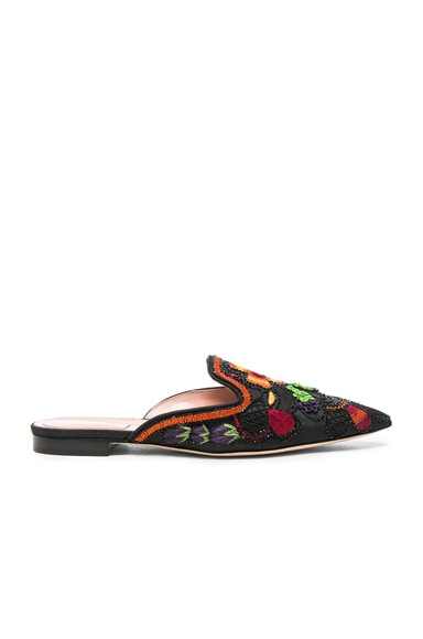 Beaded Shantung Mules