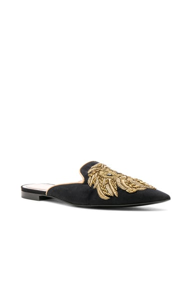 Satin Lion Embroidered Mules