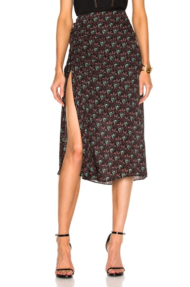 A.L.C. Devon Skirt in Black & Bordeaux