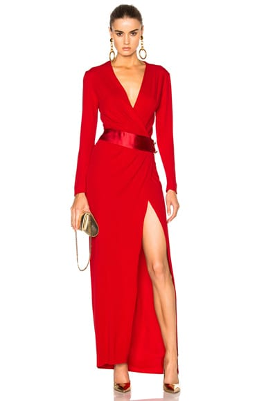 Alexandre Vauthier Long Sleeve Maxi Dress in Crimson Red