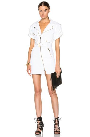 Alexandre Vauthier Cotton Moto Dress in White