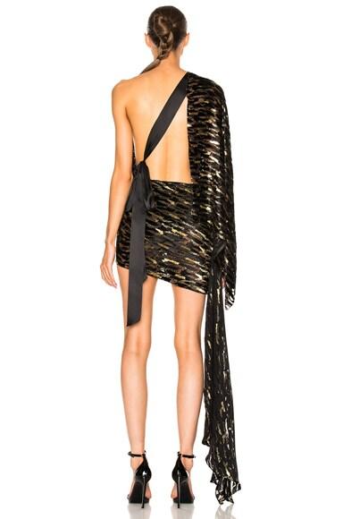 Velvet Jacquard One Shoulder Dress