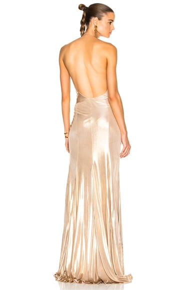 Alexandre Vauthier Jersey Crossover Halter Gown in Gold