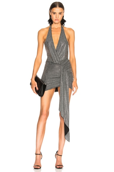 Microcrystal Embellished Halter Mini Dress
