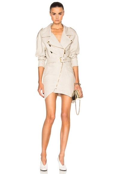 Alexandre Vauthier Belted Linen Dress in Sand