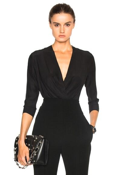 Alexandre Vauthier Satin Chiffon Bodysuit in Black