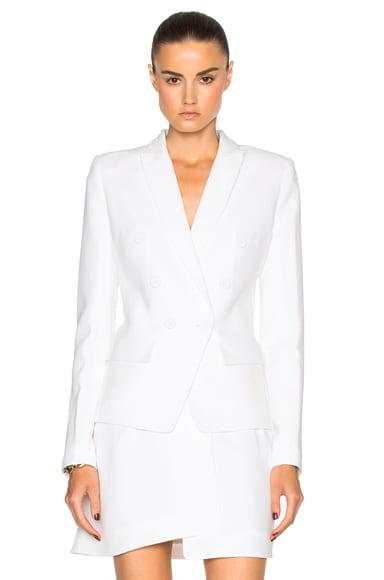 Alexandre Vauthier Crepe Double Breasted Blazer in Ivory