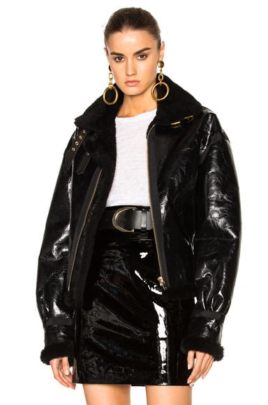 Alexandre Vauthier Shearling Jacket in Black Matte