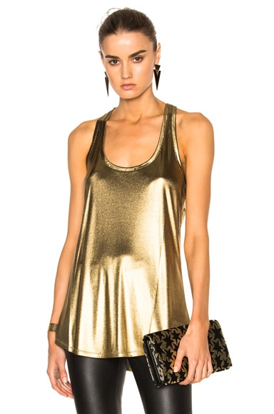 Alexandre Vauthier Jersey Top in Gold