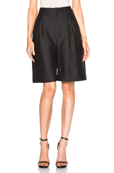 Adam Lippes Wide Leg Bermuda Shorts in Ash