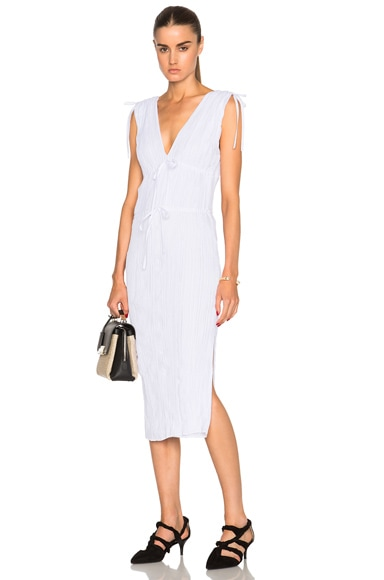 Altuzarra Navarre Featherweight Crepe Dress in Optic White