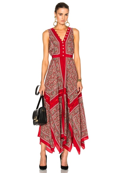 Altuzarra Clemmie Dress in Red Paisley