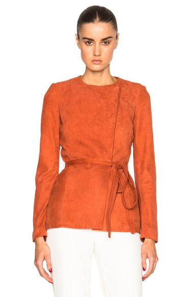 Altuzarra Tamba Suede Wrap Jacket in Windsor