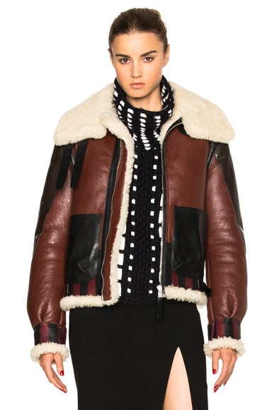 Altuzarra Antioch Shearling Jacket in Burgundy & Natural White