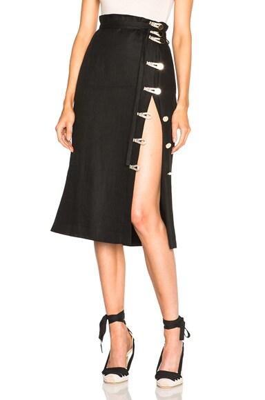 Altuzarra Hiroki Lightweight Linen Skirt in Black