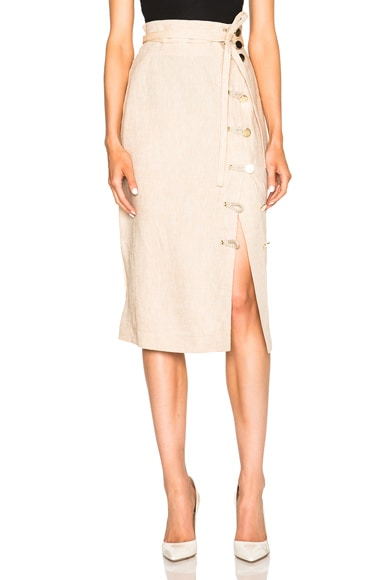 Altuzarra Hiroki Lightweight Linen Skirt in Straw
