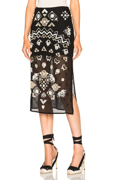Altuzarra Zeramika Tiny Floral Embroidered Skirt in Black