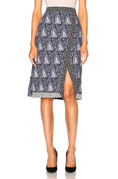 Altuzarra Jude Printed Skirt in Navy