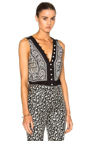 Altuzarra Francie Top in Black Paisley