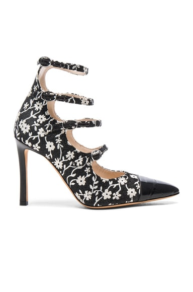 Altuzarra Isabella Multi Strap Mary Jane Heels in Black & Natural White