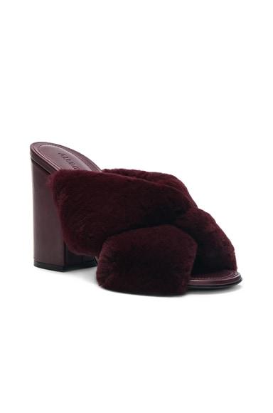 Rabbit Fur X Slide Block Heels