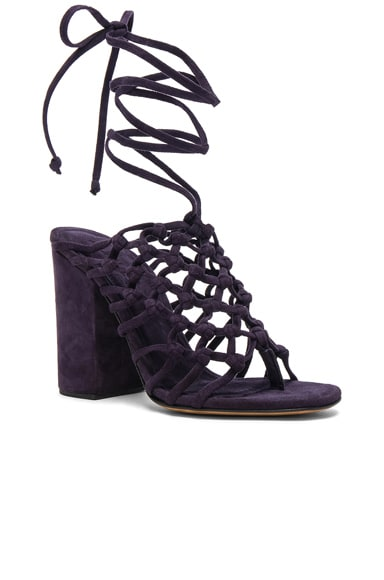 Knotted Suede Wrap Block Heels