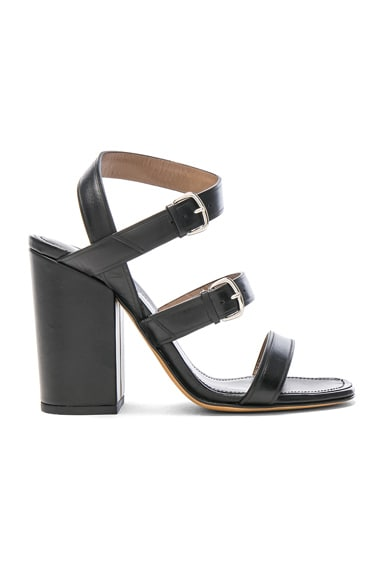 ALUMNAE Three Band Block Heel Leather Sandals in Nero