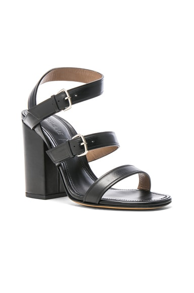 Three Band Block Heel Leather Sandals