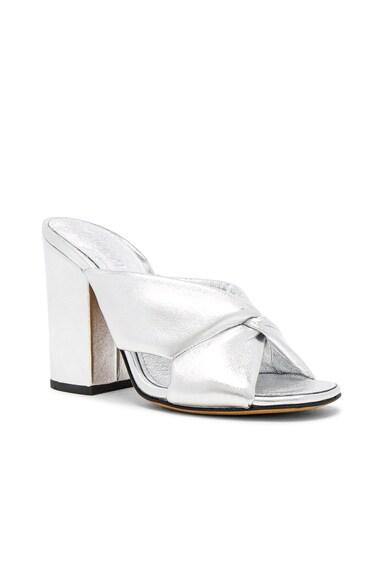 Leather Soft X Slide Block Heels