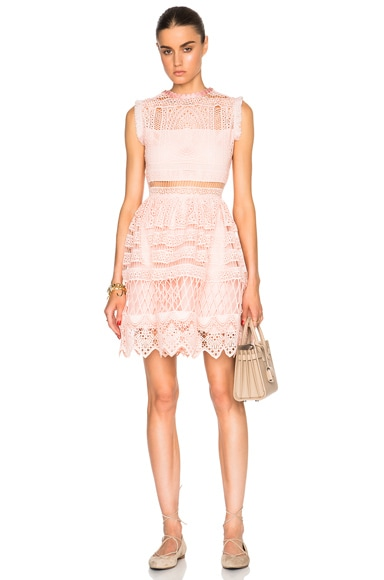 Alexis Sage Dress in Blossom Embroidery