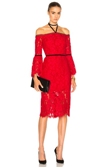 Alexis Odette Dress in Red Lace
