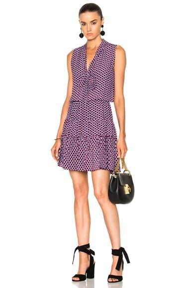 Alexis Britta Dress in Purple Blue Polka Dot