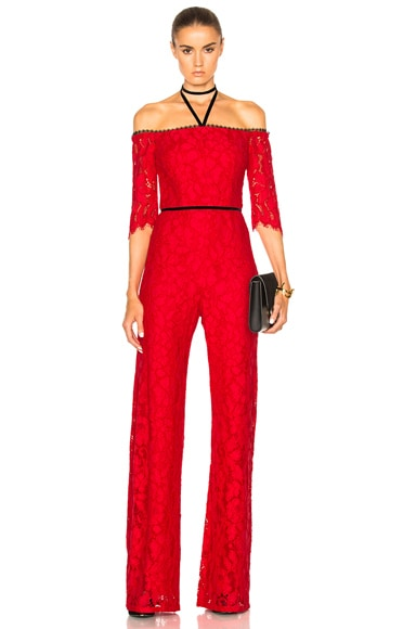 Alexis Joaquin Jumpsuit in Red Lace