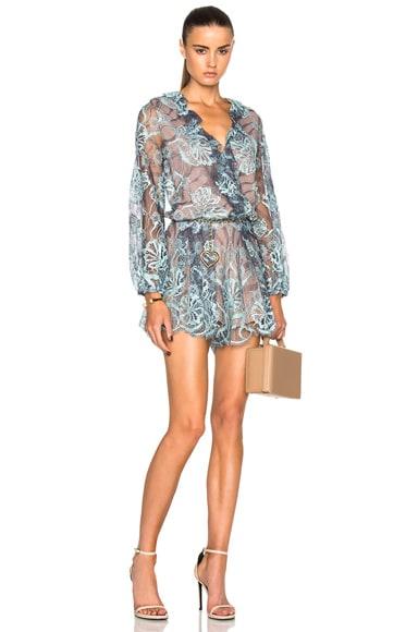 Alexis Marena Romper in Light Blue Lace