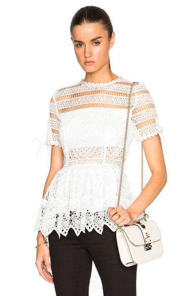 Alexis Juliana Top in White Embroidery