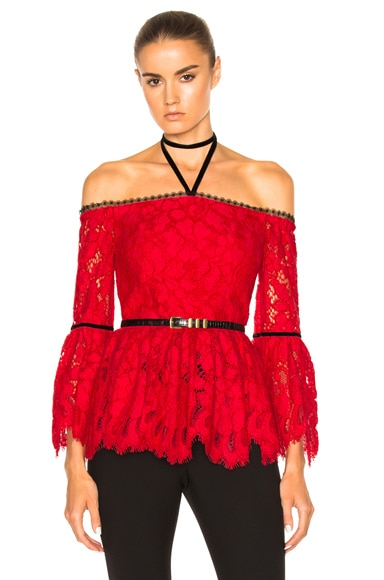 Alexis Grace Top in Red Lace